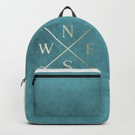 Gold on Turquoise Distressed Compass Adventure Design Backpack