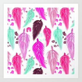 Watercolor Macrame Feathers + Dots in Pink Rainbow Art Print