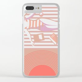 Summer Beach - Mid-Century Minimalist Graphic Clear iPhone Case