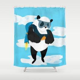 Jetpack Panda Shower Curtain