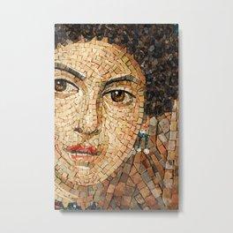 Detail of Woman Portrait. Mosaic art Metal Print