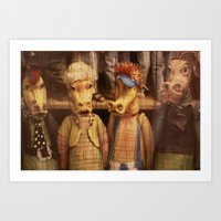 dragons Art Prints featuring DRAGONS by Logram