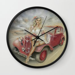 Girl and Classic Car - Vintage Wall Clock