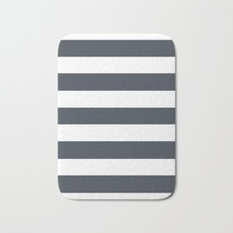 Arsenic - solid color - white stripes pattern Bath Mat