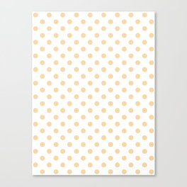 Small Polka Dots - Sunset Orange on White Canvas Print