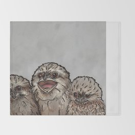 Frogmouth Chicks Throw Blanket