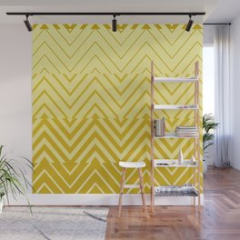 Chevron Ombre Stencil | yellow gold Wall Mural