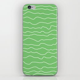 Green with White Squiggly Lines iPhone Skin
