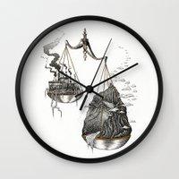 justice league Wall Clocks featuring Justice by Mariya Olshevska