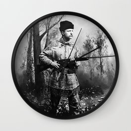 Theodore Roosevelt - Hunting Portrait Wall Clock