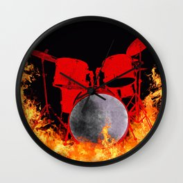 Flaming Red Drum Set Wall Clock