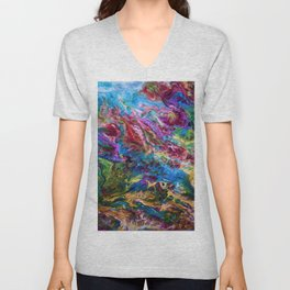Calypso Abstract Painting by OLena Art Unisex V-Neck