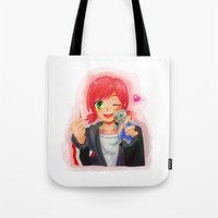 garrus Tote Bags featuring Mass Effect - Shepard with Garrus Doll by Choco-Minto