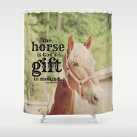 arab Shower Curtains featuring Horse Quote Arab proverb by KimberosePhotography