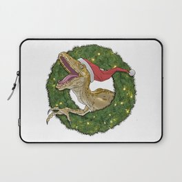 Velociraptor and Christmas Wreathe Laptop Sleeve