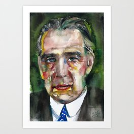 NIELS BOHR watercolor portrait Art Print