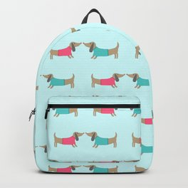 Cute dog lovers in mint background Backpack