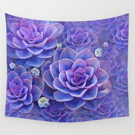 """Bouquet of pastel violet exotic succulents"" Wall Tapestry"