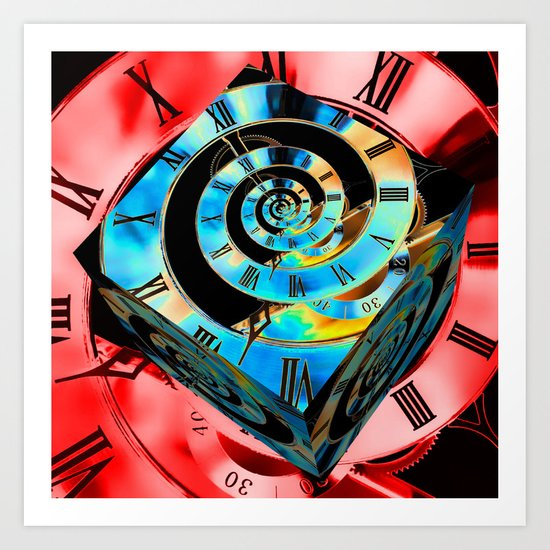 Red Infinity Clock with Blue Cube Art Print