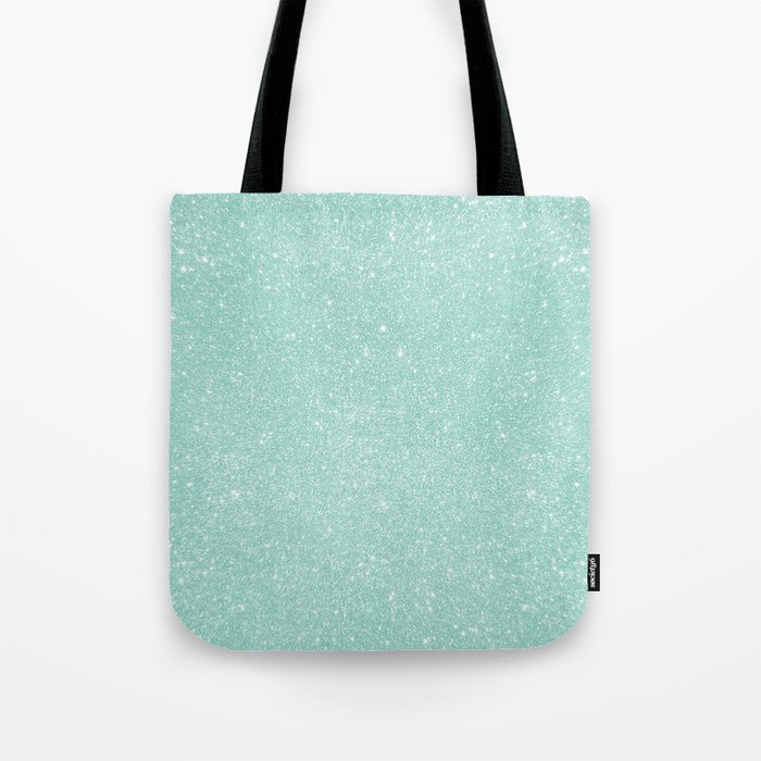 Pastel Turquoise Glitter Tote Bag