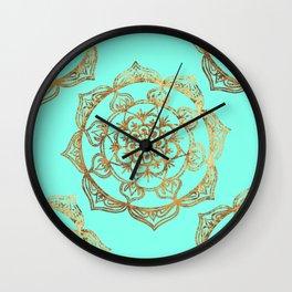 Turquoise & Gold Mandalas Wall Clock