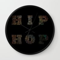 hip hop Wall Clocks featuring HIP HOP by kreatox