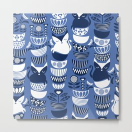 Swedish folk cats I // Indigo blue background Metal Print