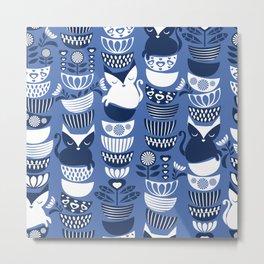 Swedish folk cats I // Indigo blue background Metal Print
