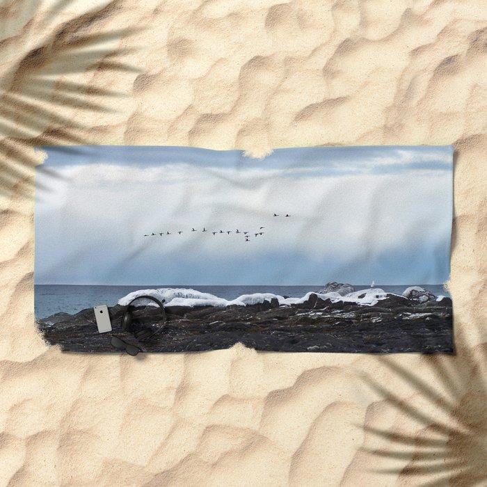 Winter Flight Beach Towel
