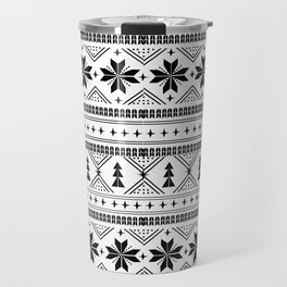 Fair Isle christmas pattern snowflakes camping winter trees christmas tree minimal black and white Travel Mug