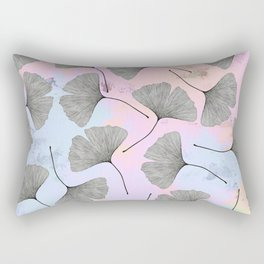 biloba on pastel pink and baby blue watercolor background Rectangular Pillow