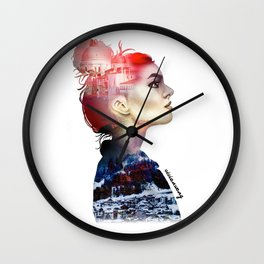 Double Exposure Girl Drawing (PART I) Wall Clock