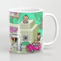 earthbound Mugs featuring Earthbound town by likelikes