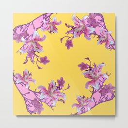 DECORATIVE YELLOW MODERN ART FLORAL Metal Print
