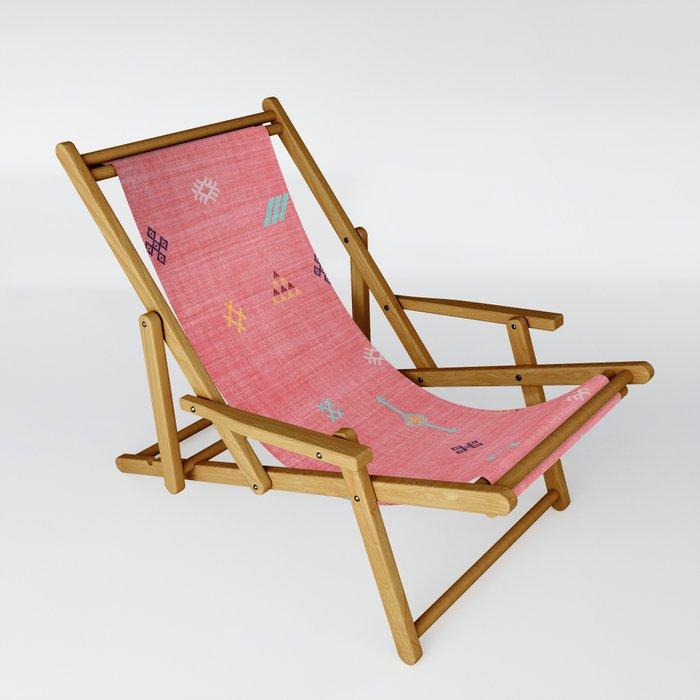 Cactus Silk Pattern in Pink Sling Chair
