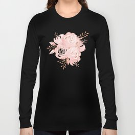 Roses Rose Gold Glitter Pink by Nature Magick Long Sleeve T-shirt