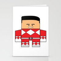 power rangers Stationery Cards featuring Mighty Morphin Power Rangers - The Original Red Ranger Unmasked (Jason) by Choo Koon Designs
