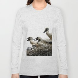 Storks and Fledglings Vector Long Sleeve T-shirt