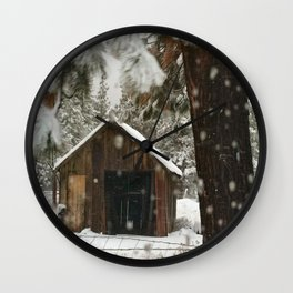 SNOWFLAKES Barn country snowing in Sisters Oregon Wall Clock