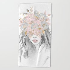 She Wore Flowers Rose + Gold Beach Towel