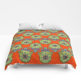 Colorful  Hamsa Hand pattern with paisley Comforters