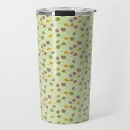 Small Colorado Aspen Tree Leaves Hand-painted Watercolors in Golden Autumn Shades on Fern Green Travel Mug