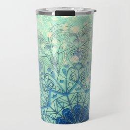 Mandala in Sea Green and Blue Travel Mug
