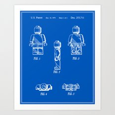 Lego Man Patent - Blueprint (v2) Art Print