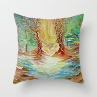 alice in wonderland Throw Pillows featuring Wonderland by Lily Nava Gallery Fine Art and Design
