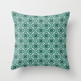 Watercolor Green Tile 3 Throw Pillow