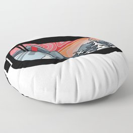 Snow Sport Sunset | Ski and Snowboard Series | DopeyArt Floor Pillow