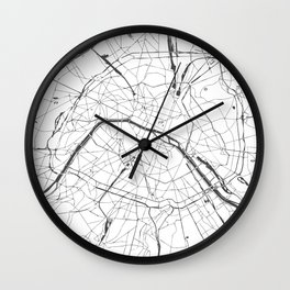 Paris France Minimal Street Map - Gray and White Wall Clock