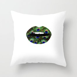 Peacock Feather Pattern Lips Feathers Print Print Mouth Animal Print Throw Pillow
