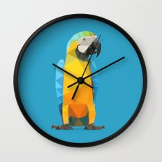 Low Poly Blue and Gold Macaw Wall Clock